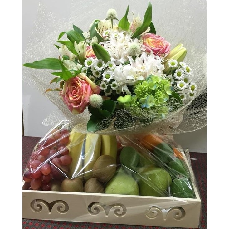 Basket of fruit and flowers - Something Different
